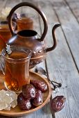 Arabic Tea And Dates Background