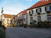 stock photo of alsatian  - Typical Alsatian village at morning during spring - JPG
