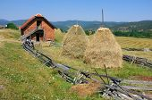 haystacks and barn in Zlatibor mountain, Serbia