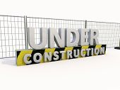 Sign under construction and fence  on white background