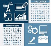 200 office, business, media, communication icons, signs set,  vector
