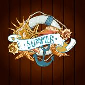 Summer Card with Sea Shells, Anchor, Lifeline