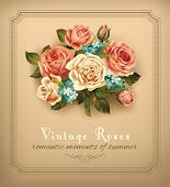 Vintage card with bouquet of roses. Vector eps 10.
