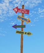 Four Arrows Beach Directional Post
