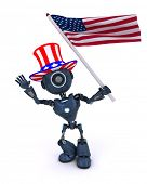 3D Render of a robot celebrating 4th july