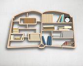 Wooden Bookshelf In Book Shape On Wall