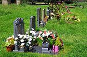 Gravestones in churchyard, Weobley.
