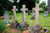 Stone crosses in churchyard, Pembridge.