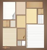 Collection of various vintage paper designs (paper sheets, lined paper and note paper). Vector illus