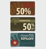 Sale Coupon, voucher, tag. Vintage Style template Design vector illustration.