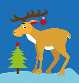 Reindeer And Christmas Tree