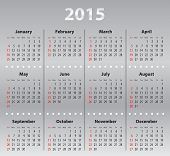 Light Gray Calendar Grid For 2015