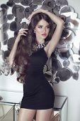 Beautiful Brunette Sensual Girl Model In Short Black Dress Posing Mirrors Wall
