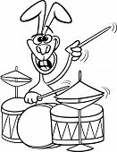 Bunny With Drums Cartoon Coloring Book