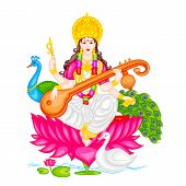stock photo of saraswati  - easy to edit vector illustration of Goddess Saraswati - JPG