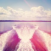 Wake from speed boat with instagram effect