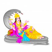 stock photo of mahabharata  - easy to edit vector illustration of Lord Vishnu - JPG