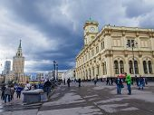 Moscow, Russia, on June 25, 2014. Komsomolskaya Square and Leningrad station