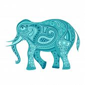 stock photo of indian elephant  - easy to edit vector illustration of elephant  in floral design - JPG