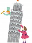 The view of Leaning Tower of Pisa with children