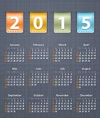 Stylish Calendar For 2015 On Linen Texture With Leather Insertions