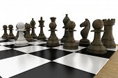 Black chess pieces on board with white pawn on white background