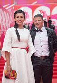MOSCOW - JUNE, 19: Russian actress Elena Borsheva with husband.36st Moscow International Film Festiv