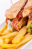 Club Sandwich With Potato French Fries
