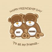 Cute teddy bears sitting together on beige background for Happy Friendship Day.