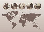 World Globe Set - Vector illustration