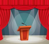 image of tribunal  - Tribune with microphone in spotlight on stage with red curtain background vector illustration - JPG