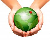 Green world with leaf and ladybug in woman hands. Vector illustration.