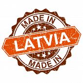 Made In Latvia Vintage Stamp Isolated On White Background