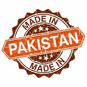 Made In Pakistan Vintage Stamp Isolated On White Background
