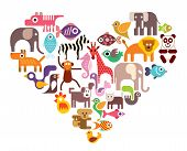 Heart With Animal Vector Icons