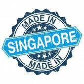 Made In Singapore Vintage Stamp Isolated On White Background