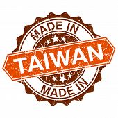 Made In Taiwan Vintage Stamp Isolated On White Background