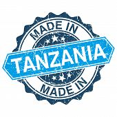 Made In Tanzania Vintage Stamp Isolated On White Background