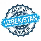 Made In Uzbekistan Vintage Stamp Isolated On White Background