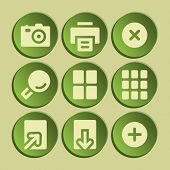 Image viewer web icons set. Green sticker.