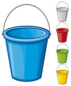pic of bucket  - Colored bucket with handle vector illustration on white background - JPG
