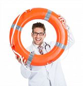 Doctor Looking Through Lifebuoy