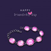 Stylish pearl bracelet on purple background for Happy Friendship Day celebrations.