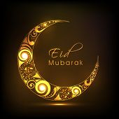 Shiny floral design decorated crescent moon on brown background for Eid Mubarak festival celebration