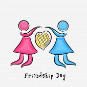 Two girls holding with heart shape on grey background for Happy Friendship Day.