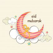 Beautiful crescent moon wrapped with yellow ribbon on stylish clouds decorated beige background for Muslim community festival Eid Mubarak celebrations.