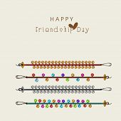Happy Friendship Day concept with colorful bands on beige background.