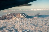 image of kilimanjaro  - The view on the flight home from Kilimanjaro with the mountain sticking up above the clouds.