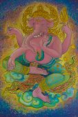 foto of ganesh  - God of Hindu Ganesh watercolor drawings on the wall - JPG