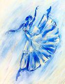 Oil painting on Canvas, Blue ballerina
